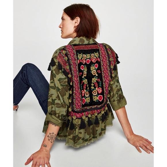 Zara Jackets Coats Camo Embellished Jacket Poshmark